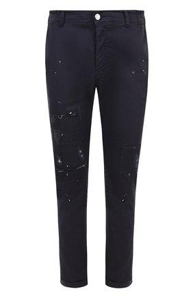 Хлопковые брюки прямого кроя с отделкой Frankie Morello синие | Фото №1