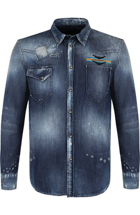 Джинсовая рубашка на кнопках с потертостями Frankie Morello синяя | Фото №1