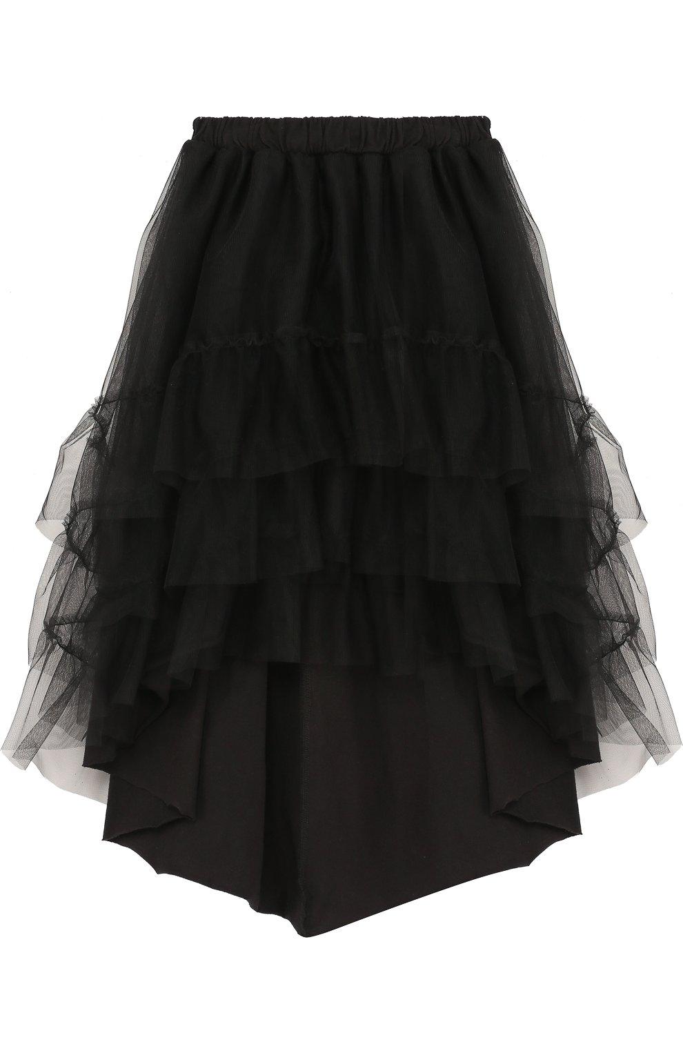 Детская хлопковая юбка асимметричного кроя  NUNUNU черного цвета, арт. NU1768B | Фото 1