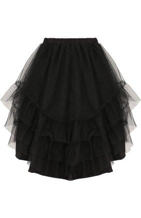 Детская хлопковая юбка асимметричного кроя  NUNUNU черного цвета, арт. NU1768B | Фото 2