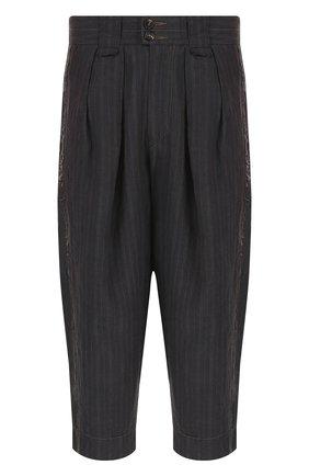Льняные укороченные брюки с заниженной линией шага | Фото №1