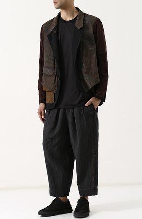 Льняные укороченные брюки с заниженной линией шага Ziggy Chen черные | Фото №1