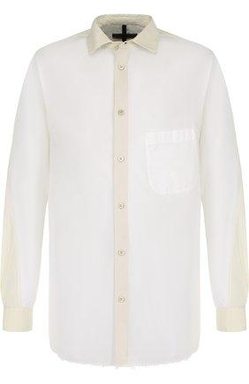 Хлопковая рубашка с отделкой Ziggy Chen белая | Фото №1