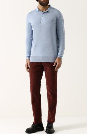 Поло с длинными рукавами из смеси льна и кашемира с хлопком Cortigiani голубое | Фото №1