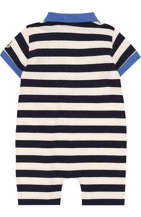 Детское хлопковый песочник в полоску MONCLER ENFANT синего цвета, арт. D1-951-85069-05-8391L | Фото 2