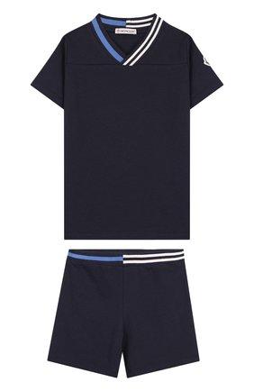 Детский хлопковый комплект из футболки и шорт MONCLER ENFANT темно-синего цвета, арт. D1-951-88101-05-8496F | Фото 1