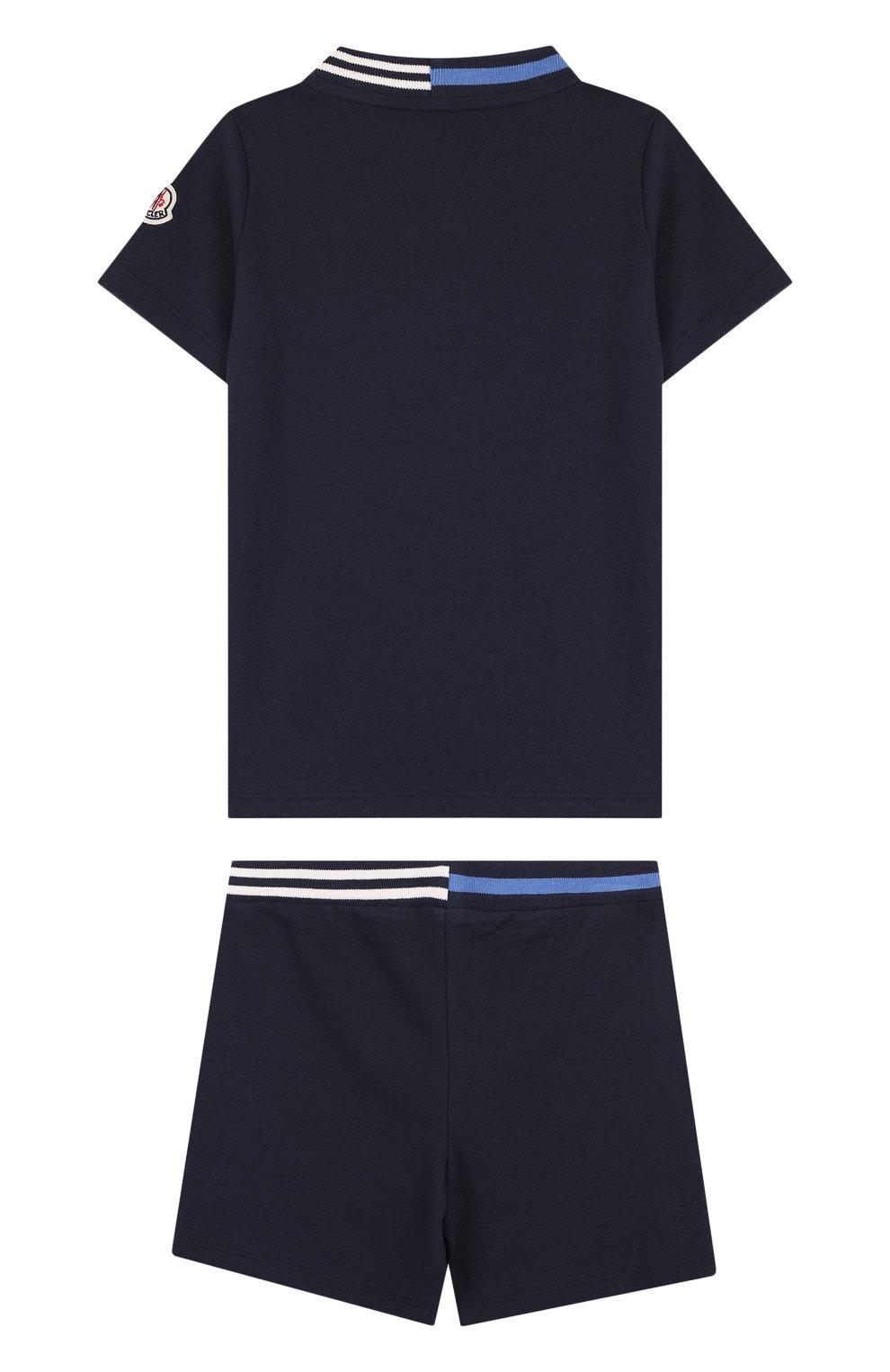 Детский хлопковый комплект из футболки и шорт MONCLER ENFANT темно-синего цвета, арт. D1-951-88101-05-8496F | Фото 2