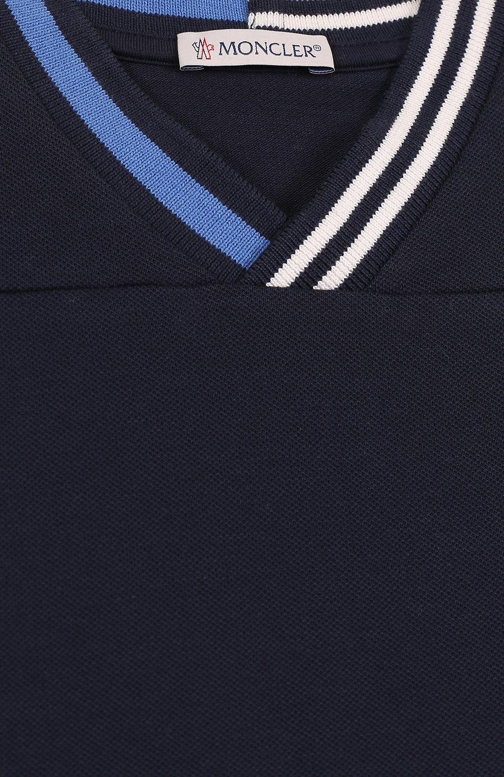 Детский хлопковый комплект из футболки и шорт MONCLER ENFANT темно-синего цвета, арт. D1-951-88101-05-8496F | Фото 3
