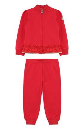 Детский хлопковый костюм из брюк и кардигана на молнии MONCLER ENFANT красного цвета, арт. D1-951-88564-05-809AC | Фото 1