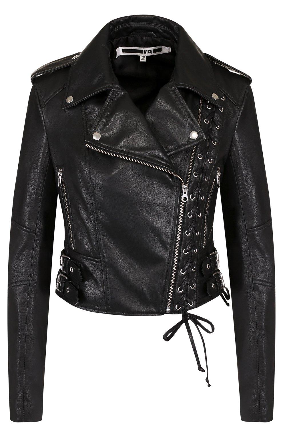 Женская приталенная кожаная куртка с косой молнией MCQ черного цвета, арт. 456386/RKL04 | Фото 1