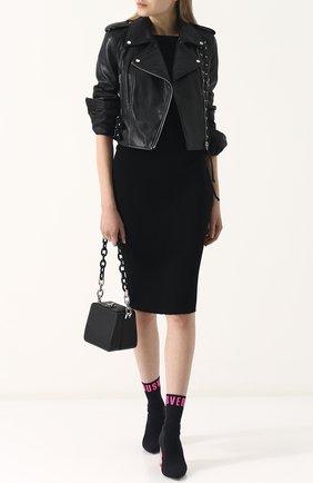 Женская приталенная кожаная куртка с косой молнией MCQ черного цвета, арт. 456386/RKL04 | Фото 2