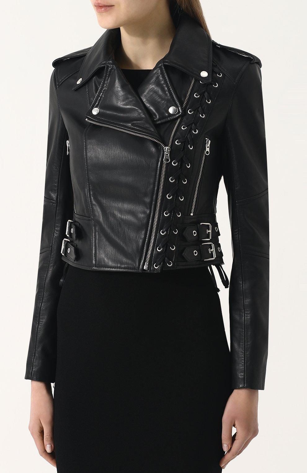 Женская приталенная кожаная куртка с косой молнией MCQ черного цвета, арт. 456386/RKL04 | Фото 3