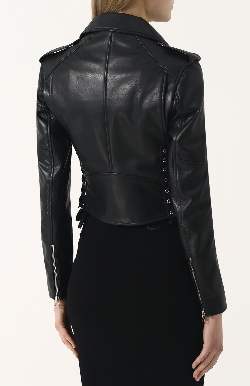 Женская приталенная кожаная куртка с косой молнией MCQ черного цвета, арт. 456386/RKL04 | Фото 4