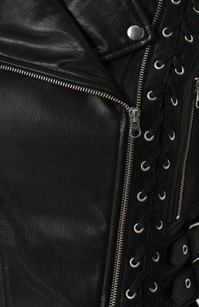 Женская приталенная кожаная куртка с косой молнией MCQ черного цвета, арт. 456386/RKL04 | Фото 5