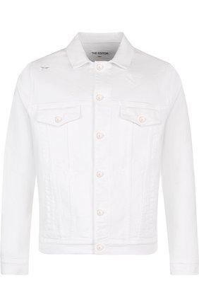 Мужская джинсовая куртка на пуговицах THE EDITOR белого цвета, арт. E402409T25/1003   Фото 1
