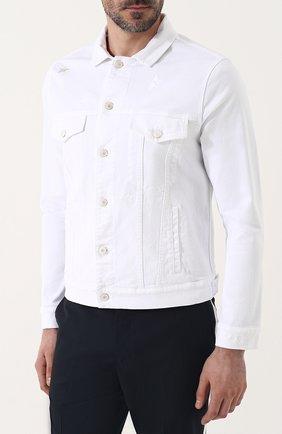 Мужская джинсовая куртка на пуговицах THE EDITOR белого цвета, арт. E402409T25/1003   Фото 3