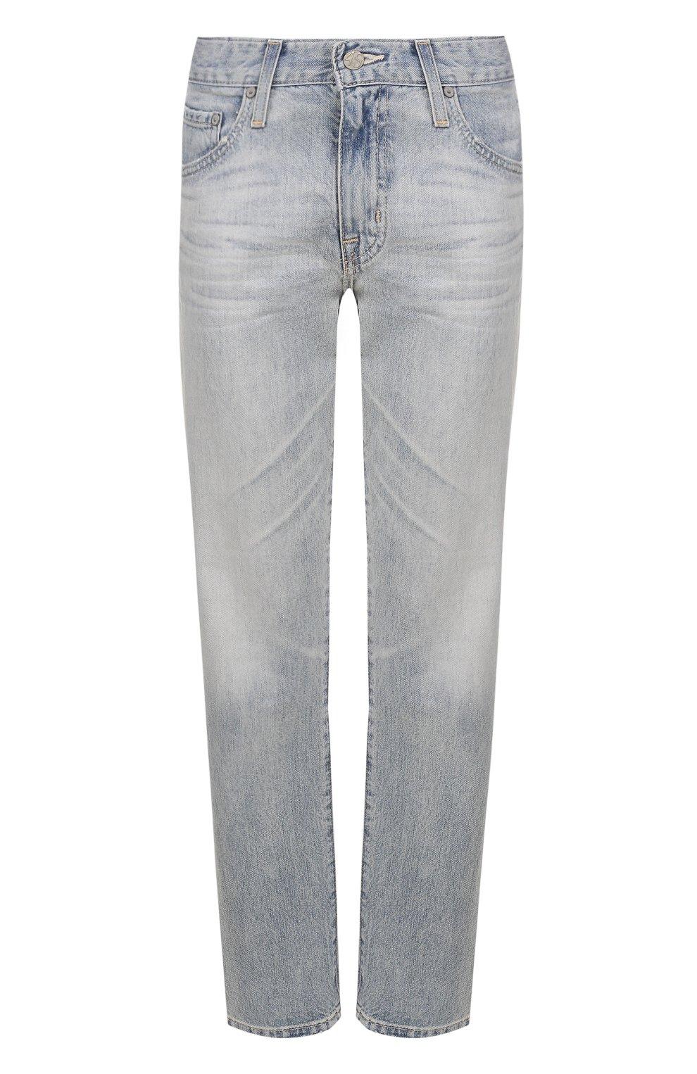 Женские укороченные джинсы прямого кроя с потертостями AG голубого цвета, арт. LGN1575/22Y-SEF | Фото 1