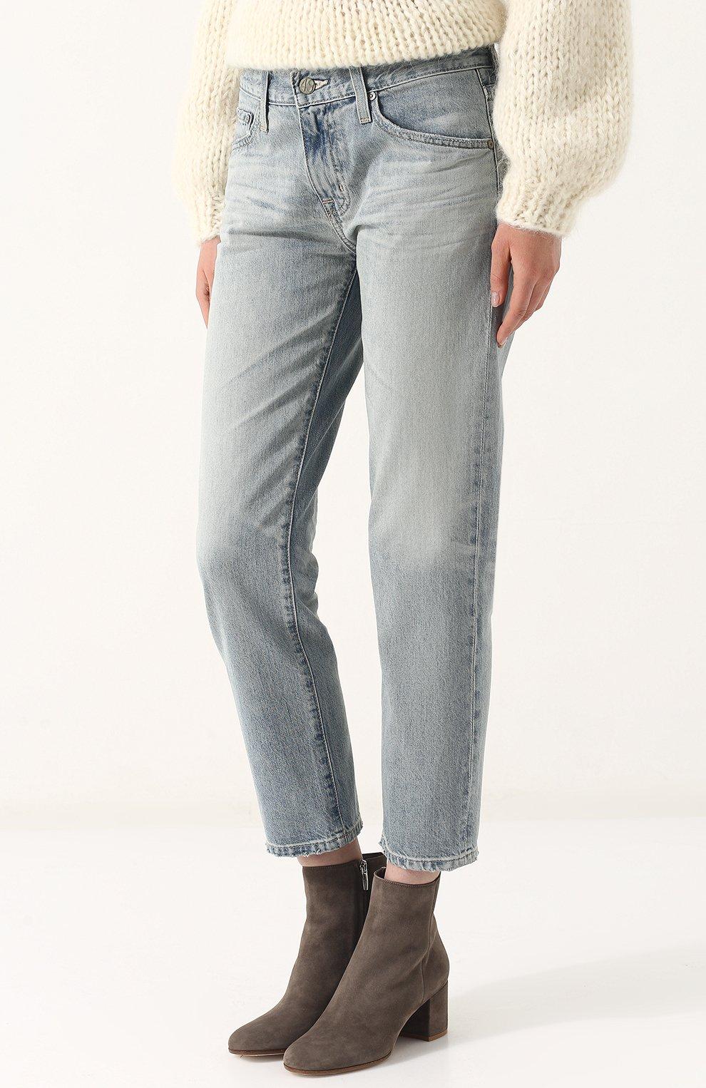 Женские укороченные джинсы прямого кроя с потертостями AG голубого цвета, арт. LGN1575/22Y-SEF | Фото 3