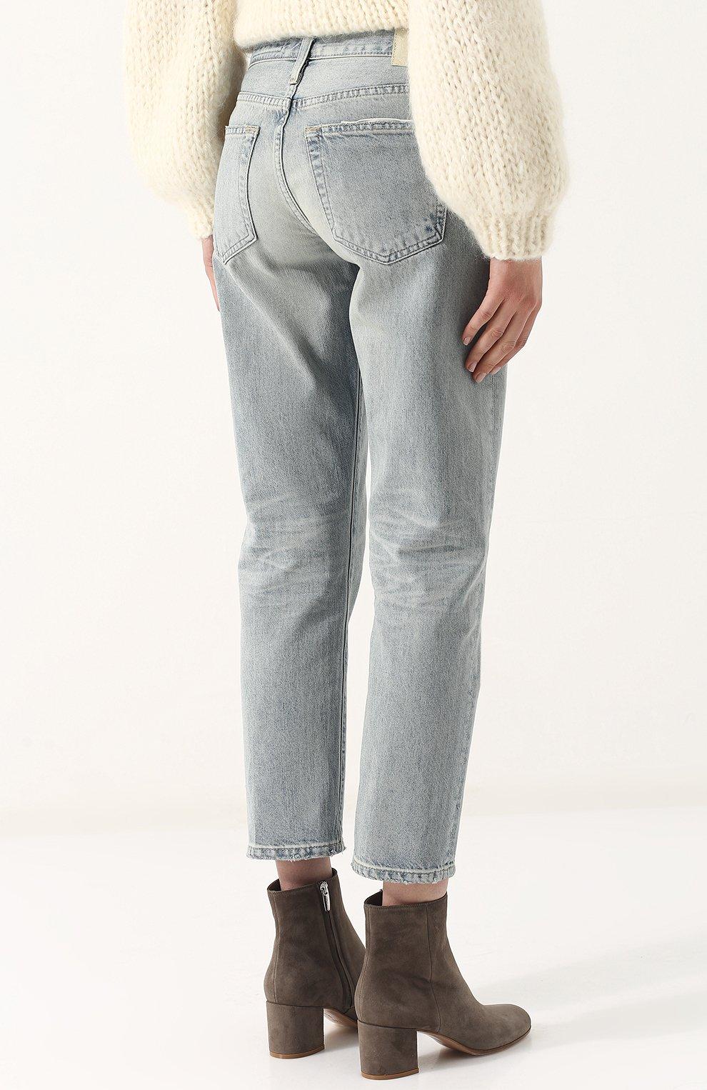 Женские укороченные джинсы прямого кроя с потертостями AG голубого цвета, арт. LGN1575/22Y-SEF | Фото 4