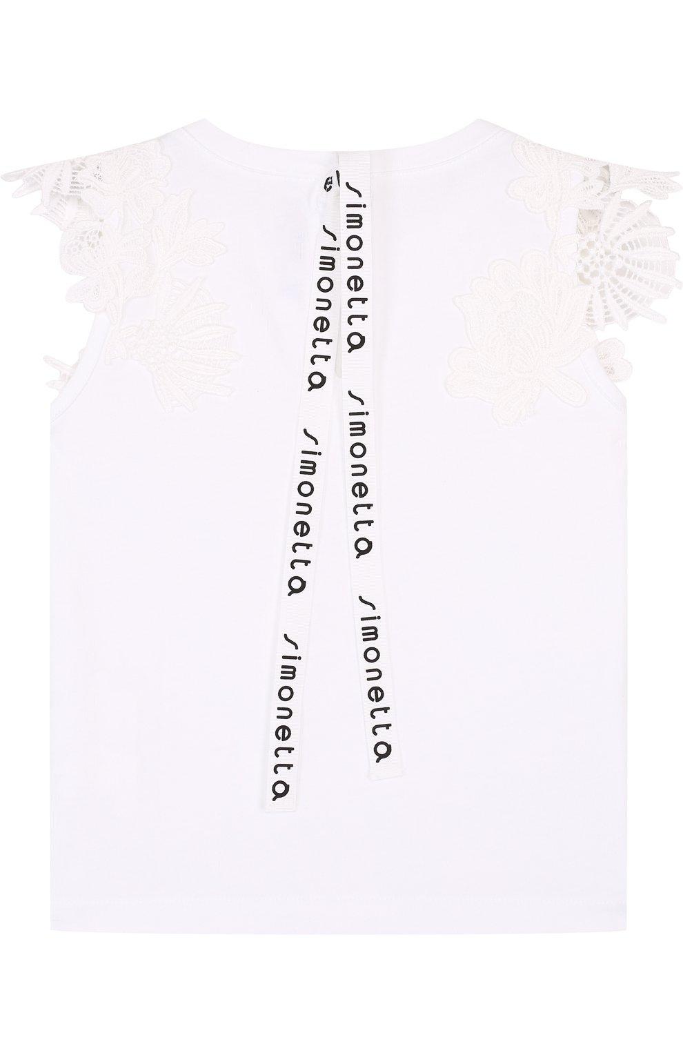 Детский хлопковый топ с кружевной отделкой и бантом SIMONETTA белого цвета, арт. 1I8052/IA580/12-16 | Фото 2