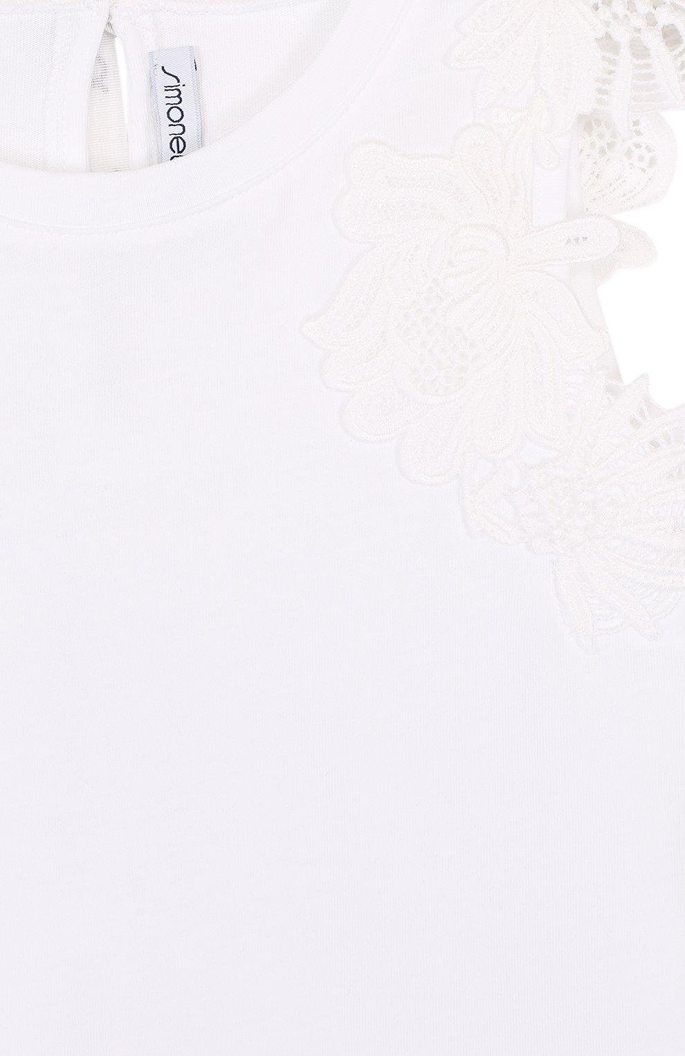 Детский хлопковый топ с кружевной отделкой и бантом SIMONETTA белого цвета, арт. 1I8052/IA580/12-16 | Фото 3