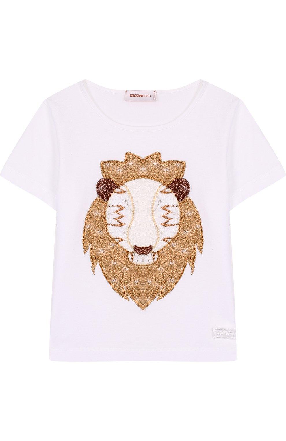 Детская хлопковая футболка с аппликацией MISSONI белого цвета, арт. E18.BA.219126 | Фото 1