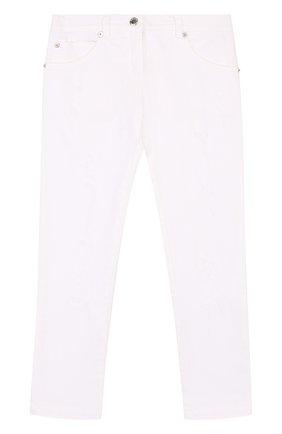 Детские джинсы с декоративными потертостями ERMANNO SCERVINO белого цвета, арт. 42 I PL09/4-8 | Фото 1