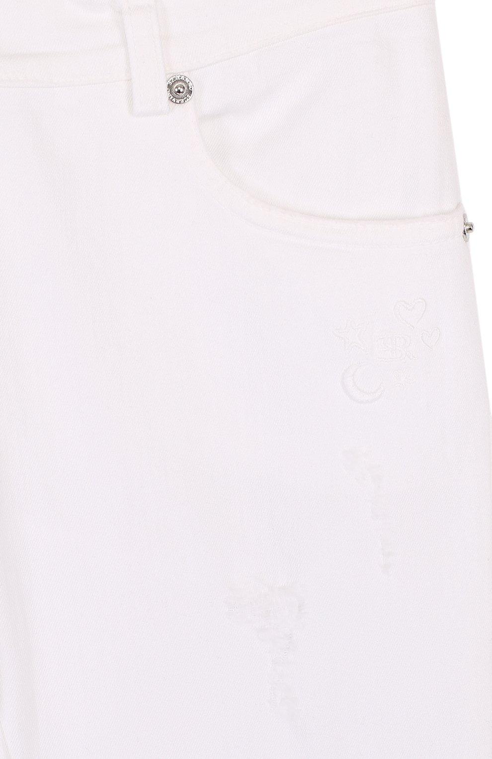 Детские джинсы с декоративными потертостями ERMANNO SCERVINO белого цвета, арт. 42 I PL09/4-8 | Фото 3