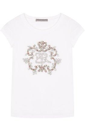 Детская хлопковая футболка с вышивкой бисером и кристаллами ERMANNO SCERVINO белого цвета, арт. 42 I TS18/10-16 | Фото 1