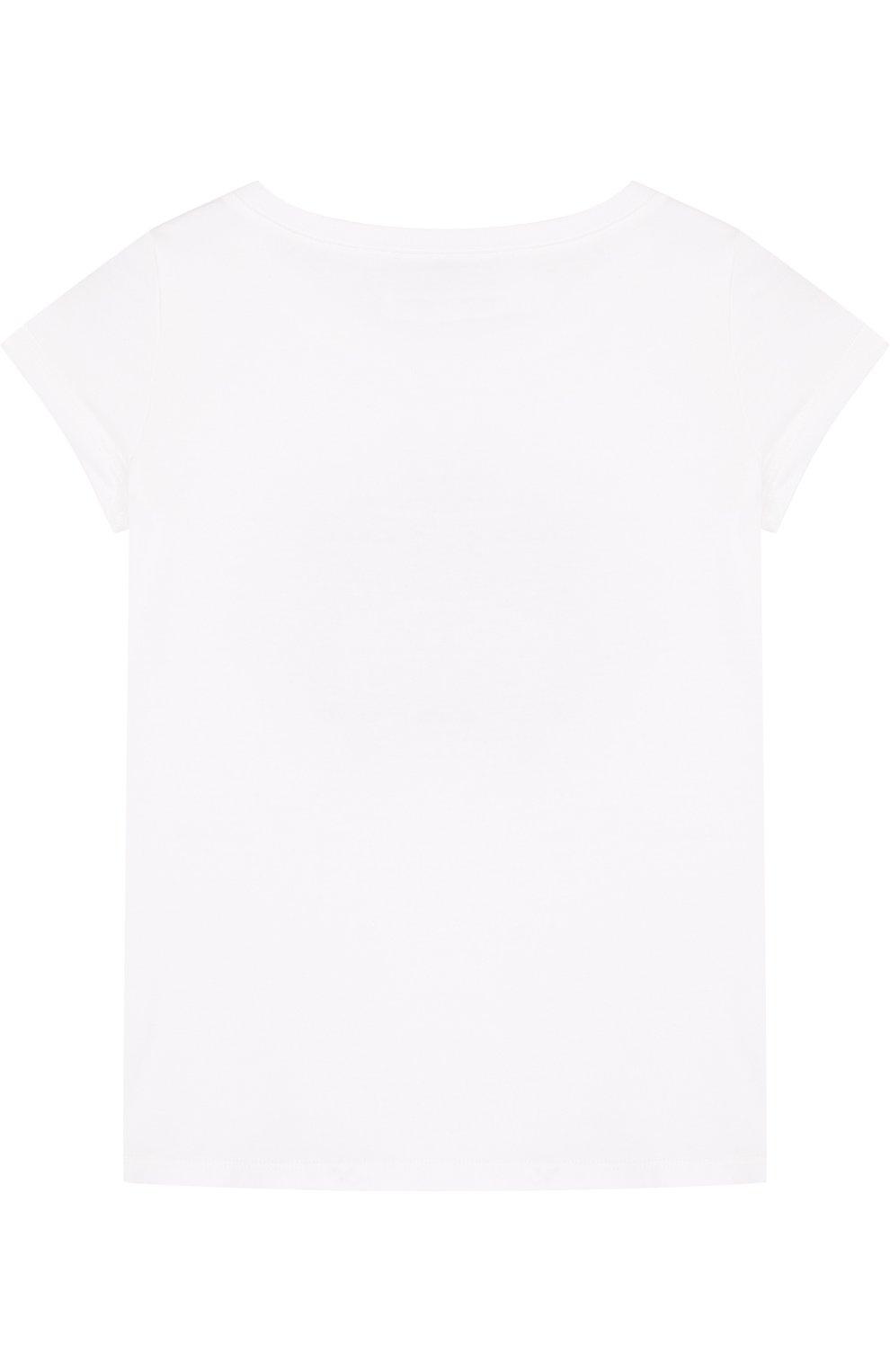 Детская хлопковая футболка с вышивкой бисером и кристаллами ERMANNO SCERVINO белого цвета, арт. 42 I TS18/10-16 | Фото 2