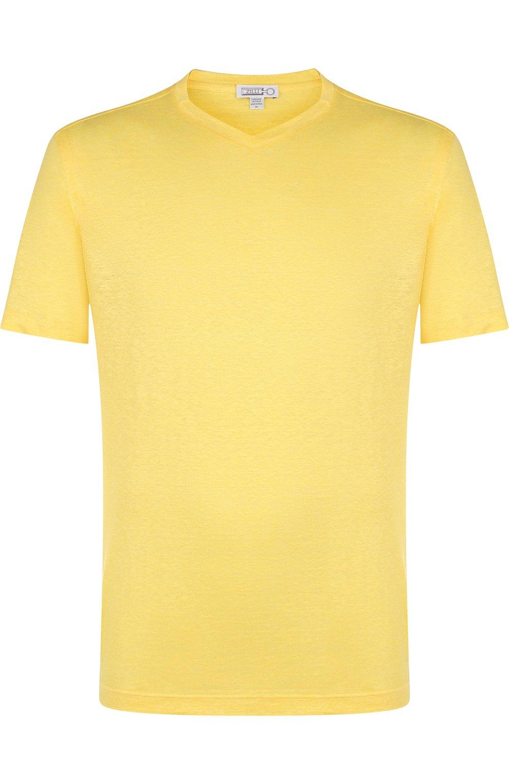 Мужская льняная футболка с v-образным вырезом ZILLI желтого цвета, арт. MFP-ZJ001-66006/0001 | Фото 1