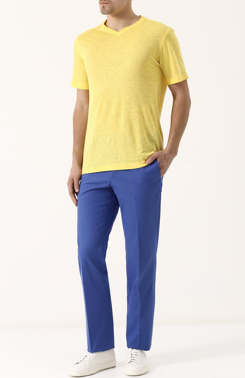 Мужская льняная футболка с v-образным вырезом ZILLI желтого цвета, арт. MFP-ZJ001-66006/0001 | Фото 2