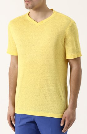 Мужская льняная футболка с v-образным вырезом ZILLI желтого цвета, арт. MFP-ZJ001-66006/0001 | Фото 3