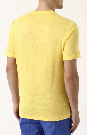 Мужская льняная футболка с v-образным вырезом ZILLI желтого цвета, арт. MFP-ZJ001-66006/0001 | Фото 4