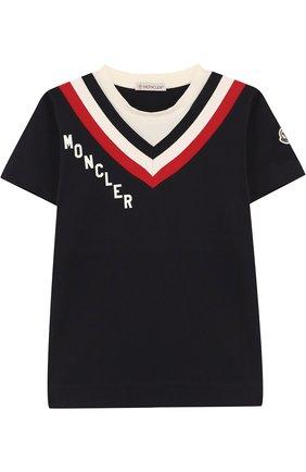 Детская хлопковая футболка с контрастной отделкой MONCLER ENFANT темно-синего цвета, арт. D1-954-80194-50-83907/12-14A   Фото 1