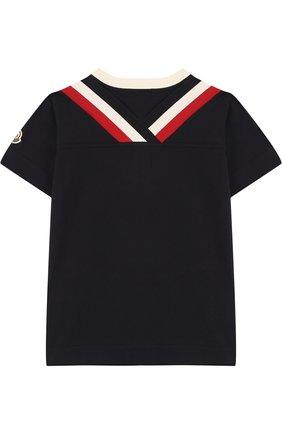 Детская хлопковая футболка с контрастной отделкой MONCLER ENFANT темно-синего цвета, арт. D1-954-80194-50-83907/12-14A   Фото 2