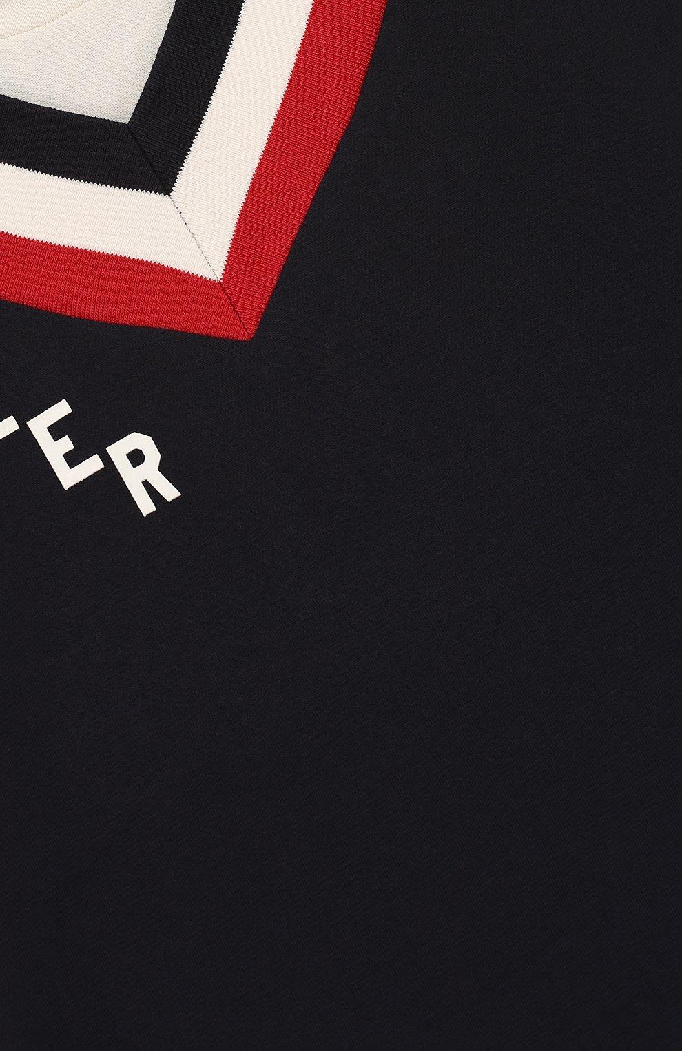 Детская хлопковая футболка с контрастной отделкой MONCLER ENFANT темно-синего цвета, арт. D1-954-80194-50-83907/12-14A   Фото 3
