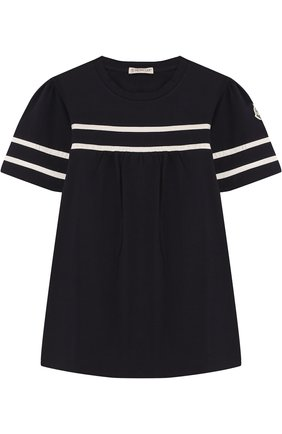 Детская хлопковая футболка с контрастной отделкой MONCLER ENFANT темно-синего цвета, арт. D1-954-80661-05-8790A/12-14A   Фото 1