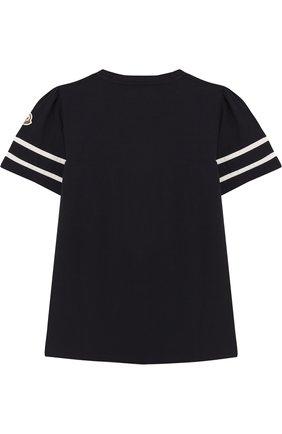 Детская хлопковая футболка с контрастной отделкой MONCLER ENFANT темно-синего цвета, арт. D1-954-80661-05-8790A/12-14A   Фото 2