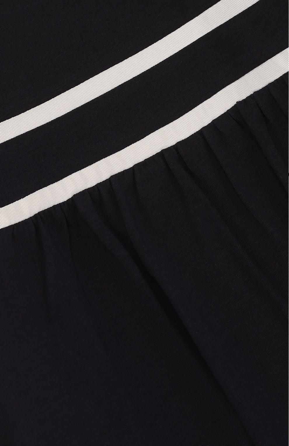 Детская хлопковая футболка с контрастной отделкой MONCLER ENFANT темно-синего цвета, арт. D1-954-80661-05-8790A/12-14A   Фото 3