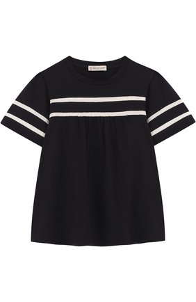 Детская хлопковая футболка с контрастной отделкой MONCLER ENFANT темно-синего цвета, арт. D1-954-80661-05-8790A/4-6A | Фото 1