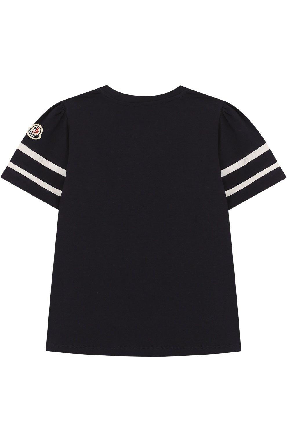 Детская хлопковая футболка с контрастной отделкой MONCLER ENFANT темно-синего цвета, арт. D1-954-80661-05-8790A/4-6A | Фото 2