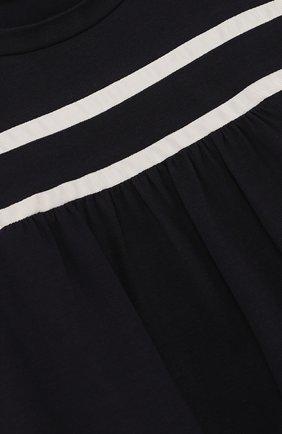 Детская хлопковая футболка с контрастной отделкой MONCLER ENFANT темно-синего цвета, арт. D1-954-80661-05-8790A/4-6A | Фото 3