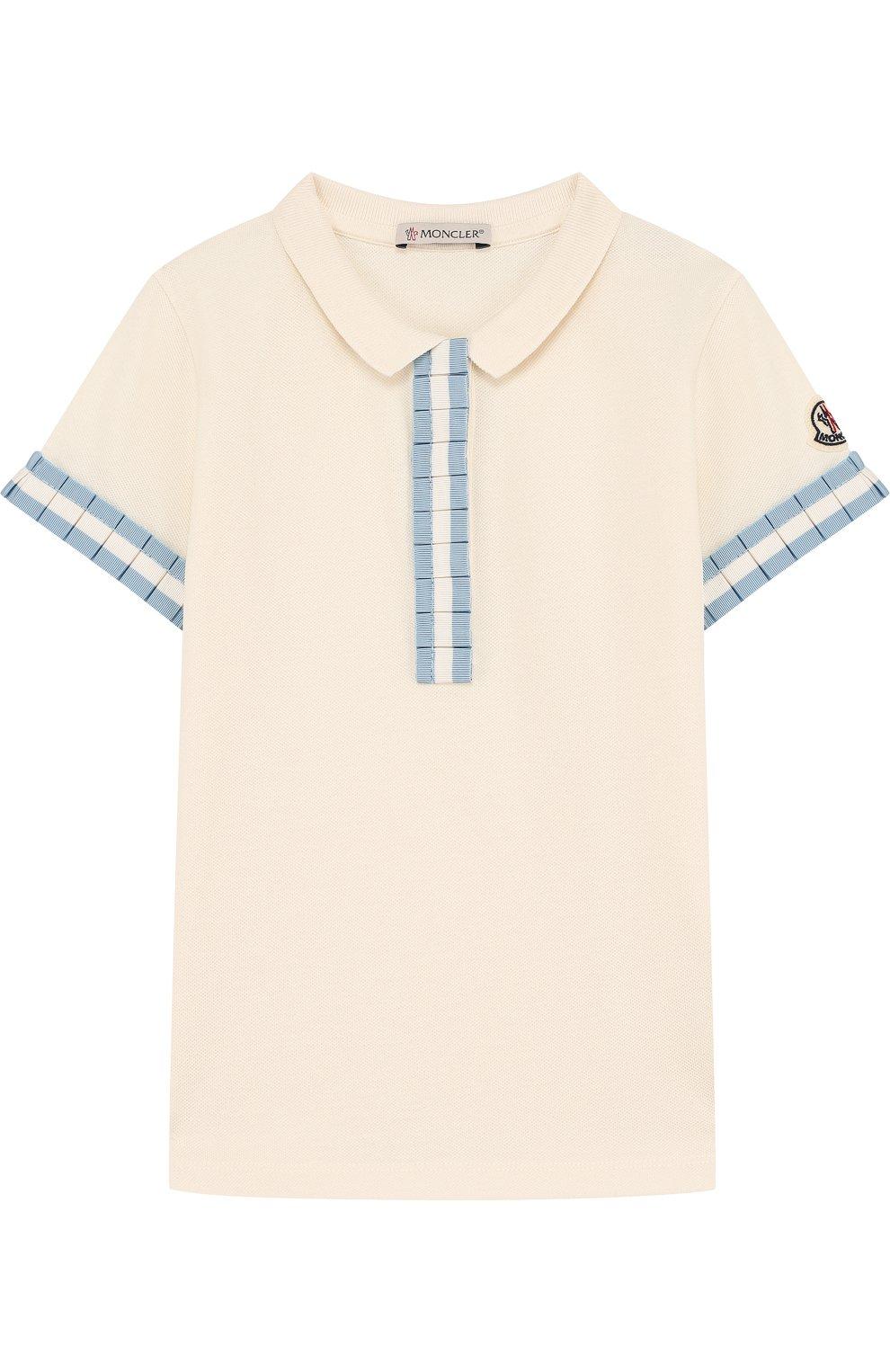 Детское хлопковое поло с плиссированной отделкой MONCLER ENFANT белого цвета, арт. D1-954-83546-05-8496F/4-6A | Фото 1