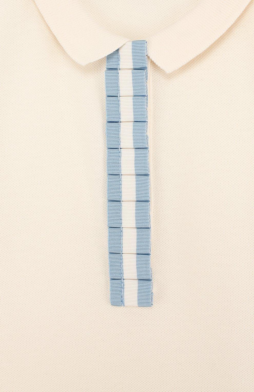 Детское хлопковое поло с плиссированной отделкой MONCLER ENFANT белого цвета, арт. D1-954-83546-05-8496F/4-6A | Фото 3