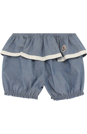 Детские хлопковые шорты с баской MONCLER ENFANT синего цвета, арт. D1-951-18012-05-549MB | Фото 2