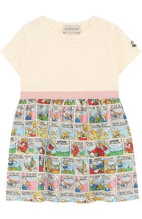 Женский хлопковое мини-платье с принтом MONCLER ENFANT белого цвета, арт. D1-951-85717-05-8790A | Фото 1