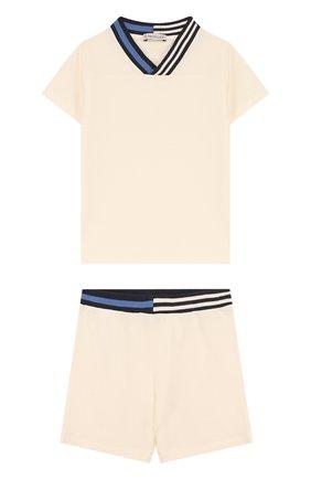 Детский хлопковый комплект из футболки и шорт MONCLER ENFANT белого цвета, арт. D1-951-88101-05-8496F | Фото 1