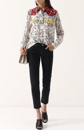 Женские укороченные джинсы прямого кроя с потертостями RAG&BONE серого цвета, арт. W2592K502KUR | Фото 2