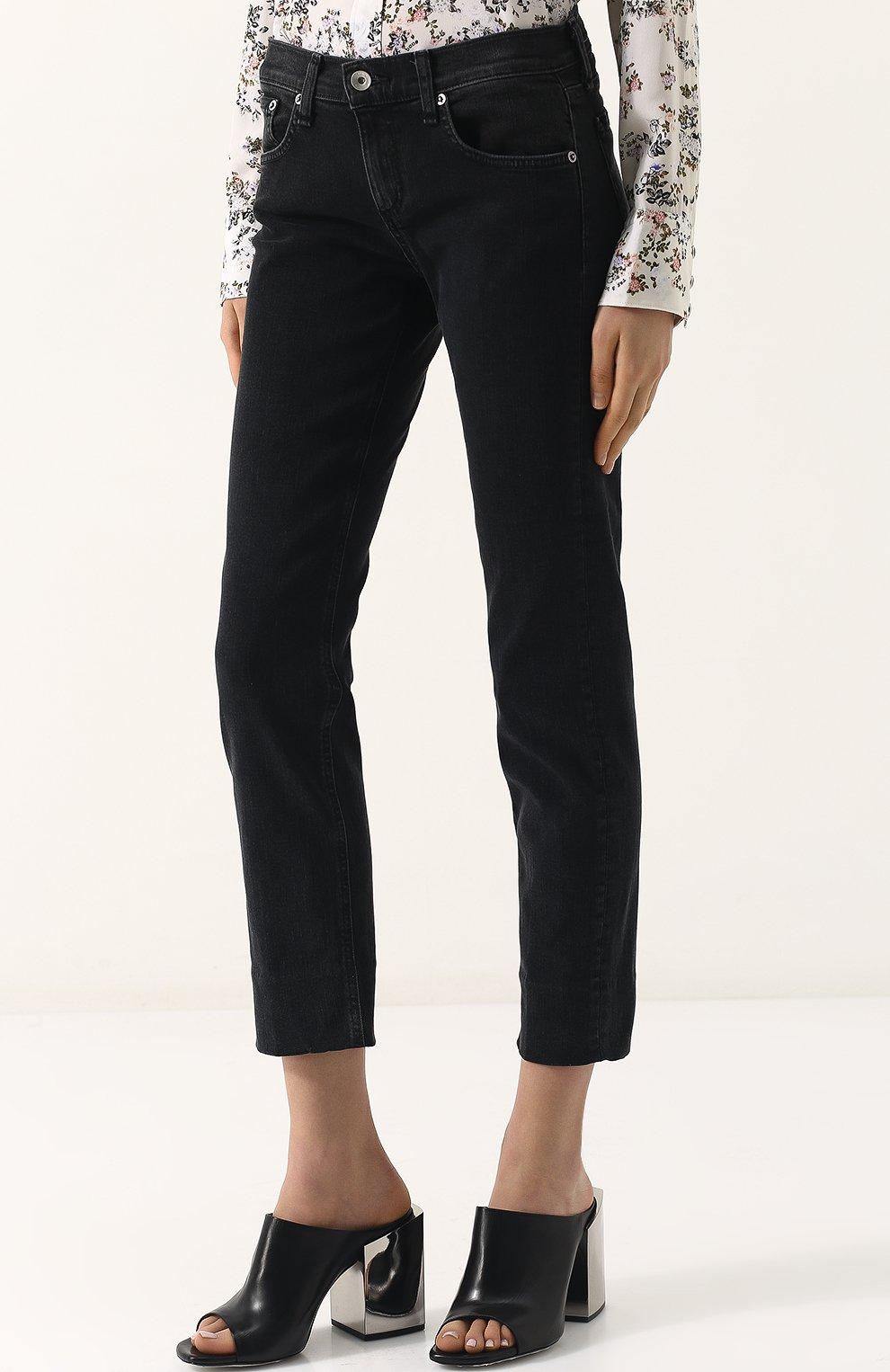 Женские укороченные джинсы прямого кроя с потертостями RAG&BONE серого цвета, арт. W2592K502KUR | Фото 3